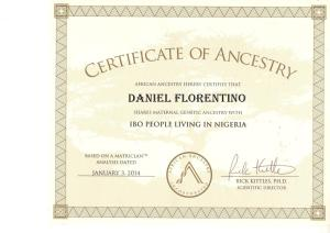 1_Certificate_African_Ancestry_Daniel_Igbo